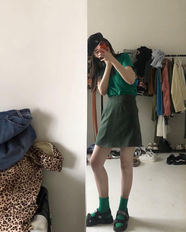Less is bore自制宽松显瘦高腰 条纹半身短裙