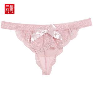 三福女蕾丝内裤 花边蝴蝶结时尚性感亲肤丁字底裤390631