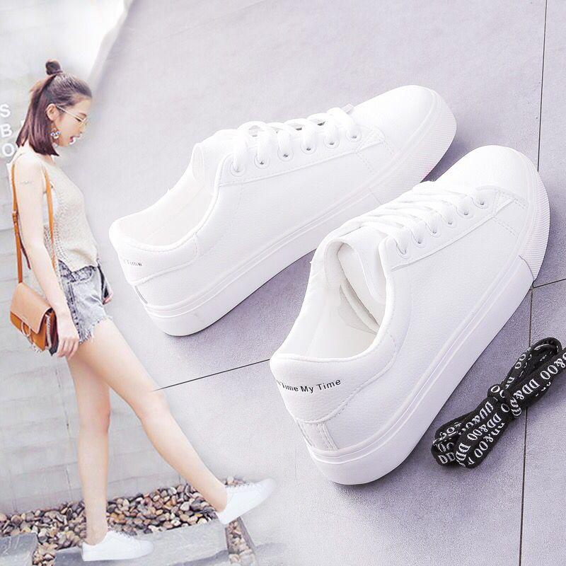 2019新款春季小白鞋女百搭韩版学生平底系带基础白鞋夏季透气板鞋