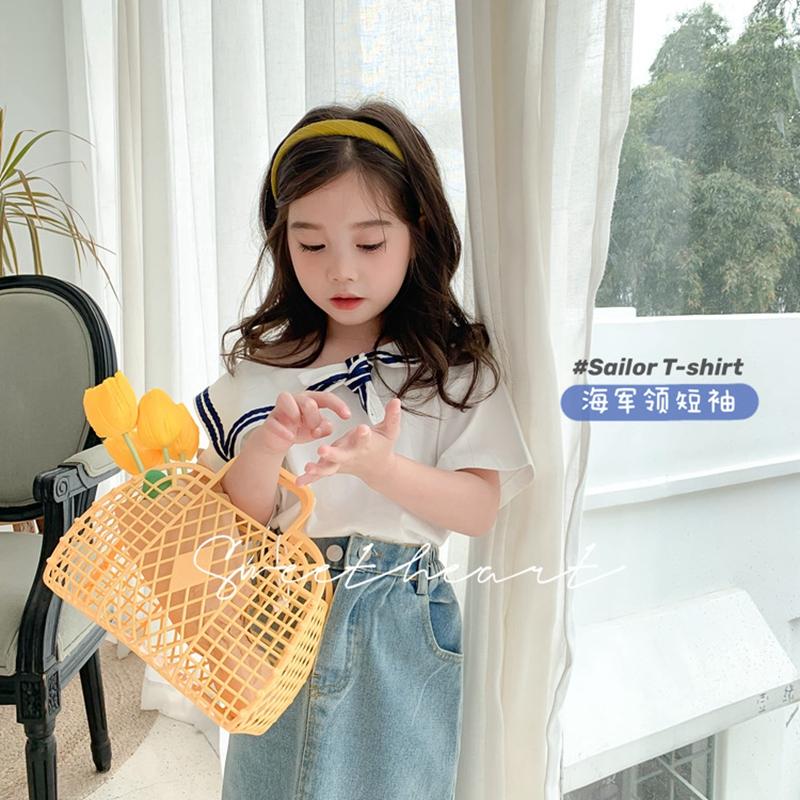 小甜心女童海军领短袖宝宝学院风纯棉T恤韩版水手服夏季洋气上衣