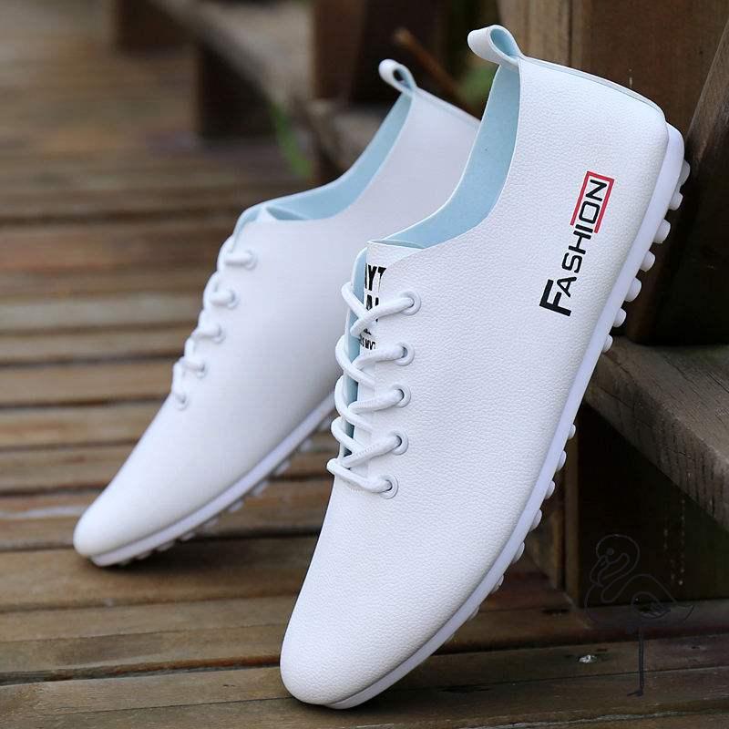 2020男鞋新品豆豆鞋夏季透气皮鞋男士休闲鞋韩版小白鞋潮流鞋子男