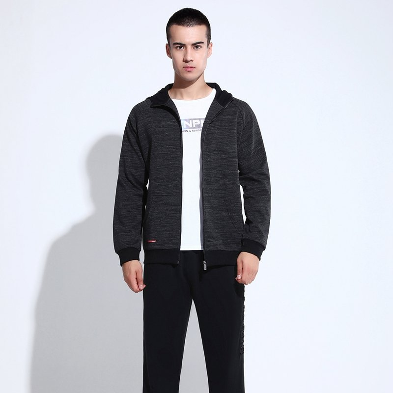 High grade brand spring and autumn mens cardigan hooded sports suit young mens long sleeve sports coat Korean version