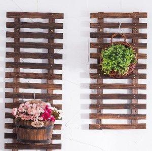 卧室小阳台装扮装扮物件台绿萝挂墙植物架 木质壁挂式花盆架包邮