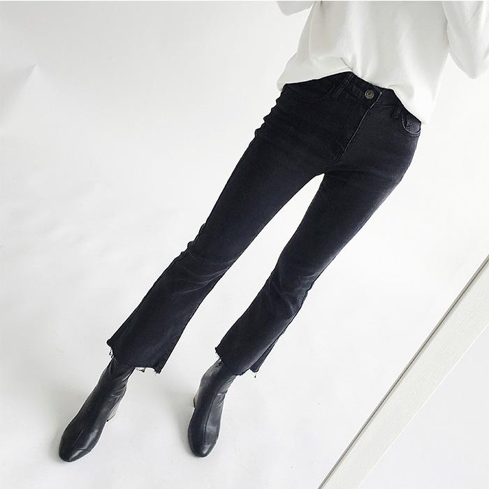 宝优 微喇叭牛仔裤女秋冬季新款弹力修腿型高腰显瘦毛边九分裤子