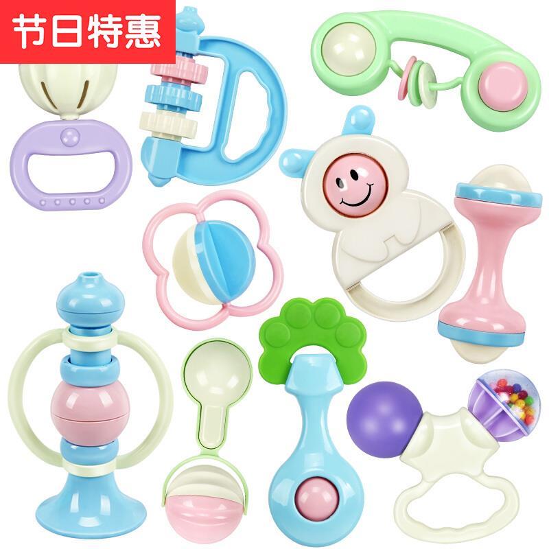 l奶瓶摇铃 手摇铃婴儿玩具v03612个月宝宝男女孩4牙胶1岁新生儿