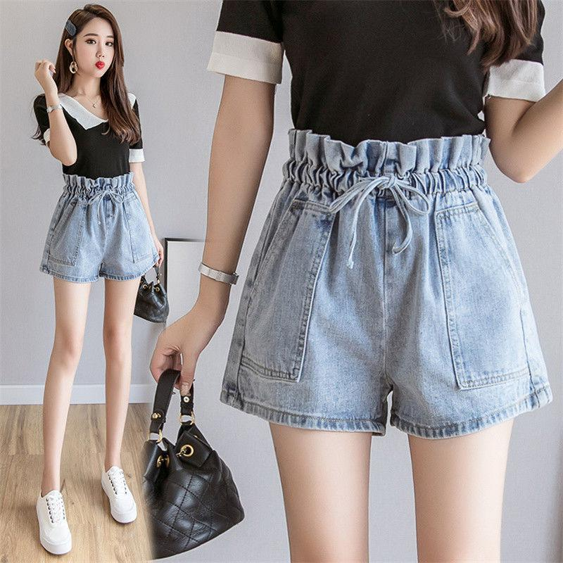 Denim shorts womens high waist new Korean version of loose thin elastic waist A-line wide leg pants student trend