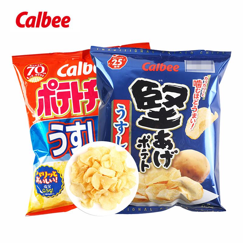 不包邮新品日本进口卡乐比淡盐味休闲薯片