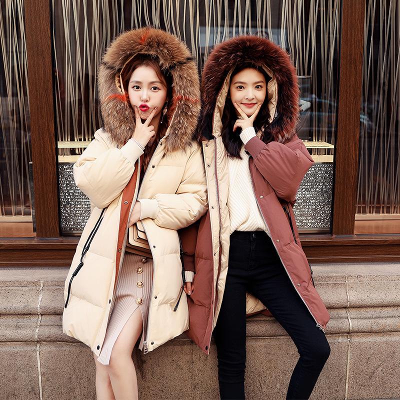2019新款电话线韩版宽松面包服韩国彩色大毛领羽绒服女中长款外套