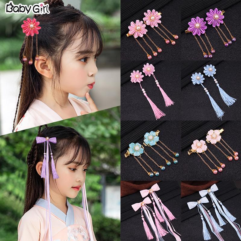 儿童青花瓷丝带汉服中国风女童发夹(非品牌)