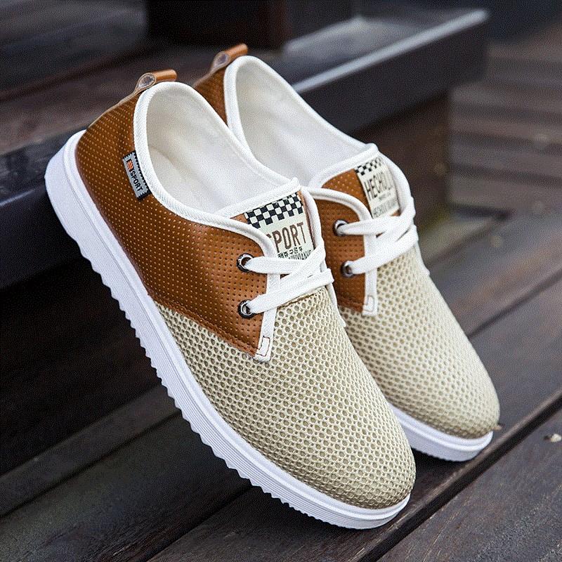 男鞋镂空帆布运动潮鞋网鞋透气板鞋流行男士休闲鞋网面学生鞋夏季