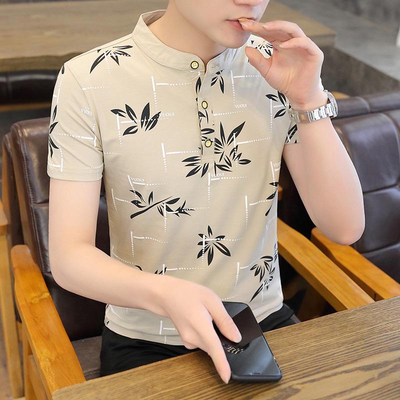 男士纯棉弹力polo衫2021夏季新品时尚潮流ins立领短袖上衣