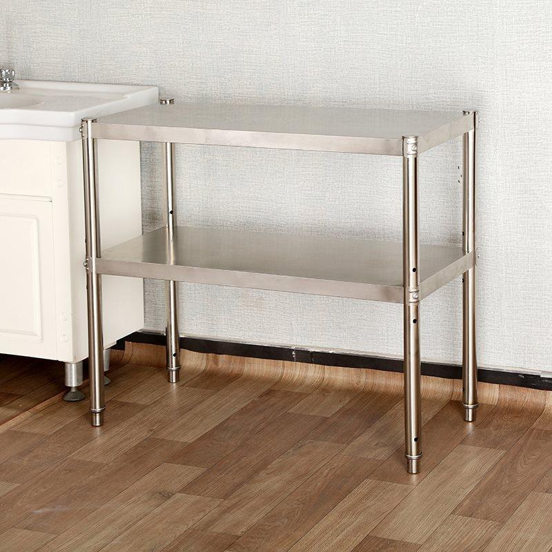 厨房用品置物架2层不锈钢台面微波炉架烤箱架收纳货架双层可调节,可领取40元淘宝优惠券