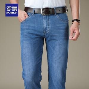 【04】罗蒙牛仔裤男2020夏季薄款弹力商务直筒裤宽松水洗休闲长裤