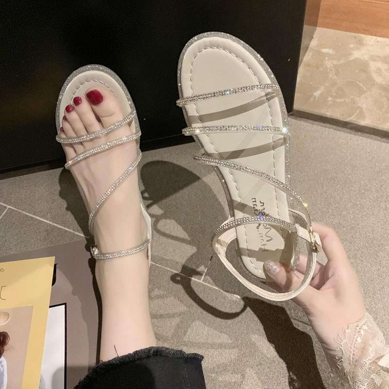 Korean diamond one line open toe sandals 2021 summer new flat heel beach shoes fashion Roman shoes fairy womens shoes