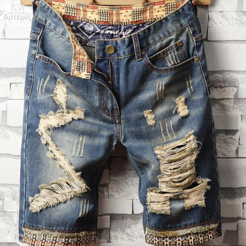 Denim shorts mens fat plus plus size mens black jeans light blue ins denim quarter shorts mens versatile