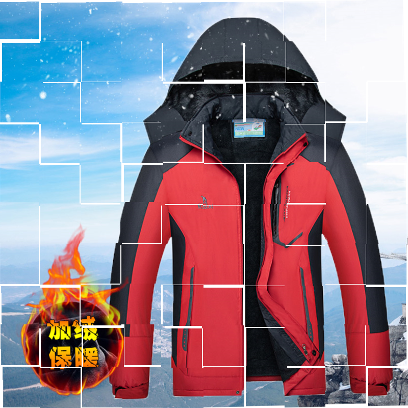 Womens large size assault suit with plush and thickened detachable jacket, cotton padded jacket, tide brand cotton padded jacket, windproof and hooded jacket.