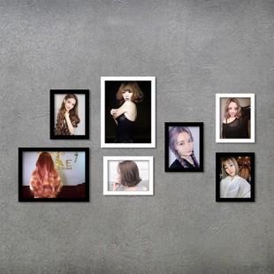 饰海报发型图片理发店相框发廊 照片墙装 日本购专业美容美发店个性