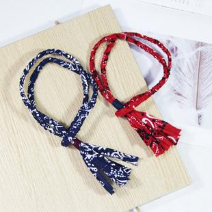 阿美咔嘰復古藍染布項鍊日系男女情侶吊墜掛飾手工編織掛繩文藝風