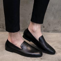 2020秋季新款男士休闲小皮鞋尖头套脚一脚蹬懒人豆豆鞋乐福鞋潮鞋