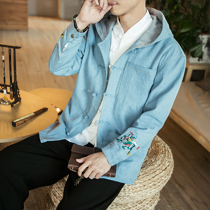 Chinese Style Mens coat youth Tang suit autumn winter buckle retro hooded ethnic denim top fashion jacket
