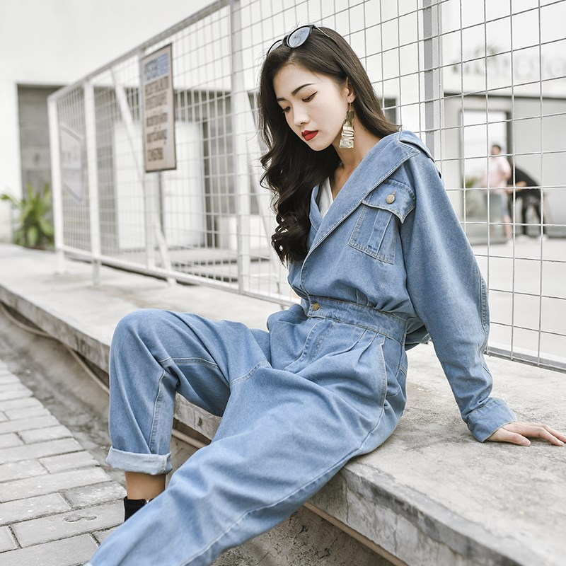 Korean one-piece denim suit womens spring and Autumn New Retro Hong Kong Style waist closing work clothes Capris 2017