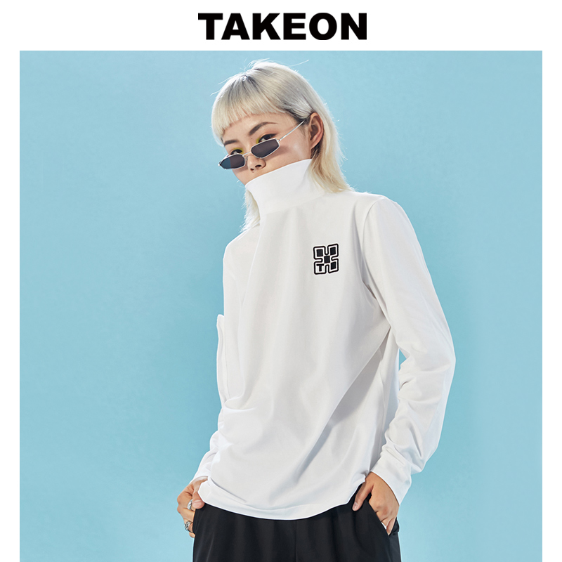 Takeon spring new high collar embroidery solid black and white Long Sleeve T-shirt for women