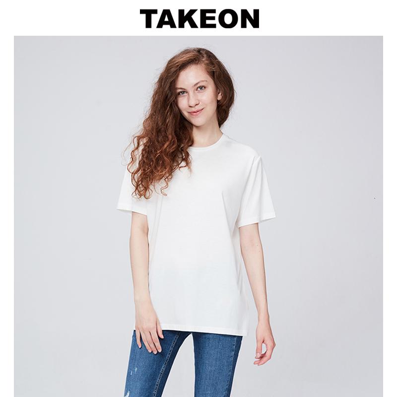 Takeon casual fashion versatile pattern round neck comfortable cotton white short sleeve T-shirt couple womens wear