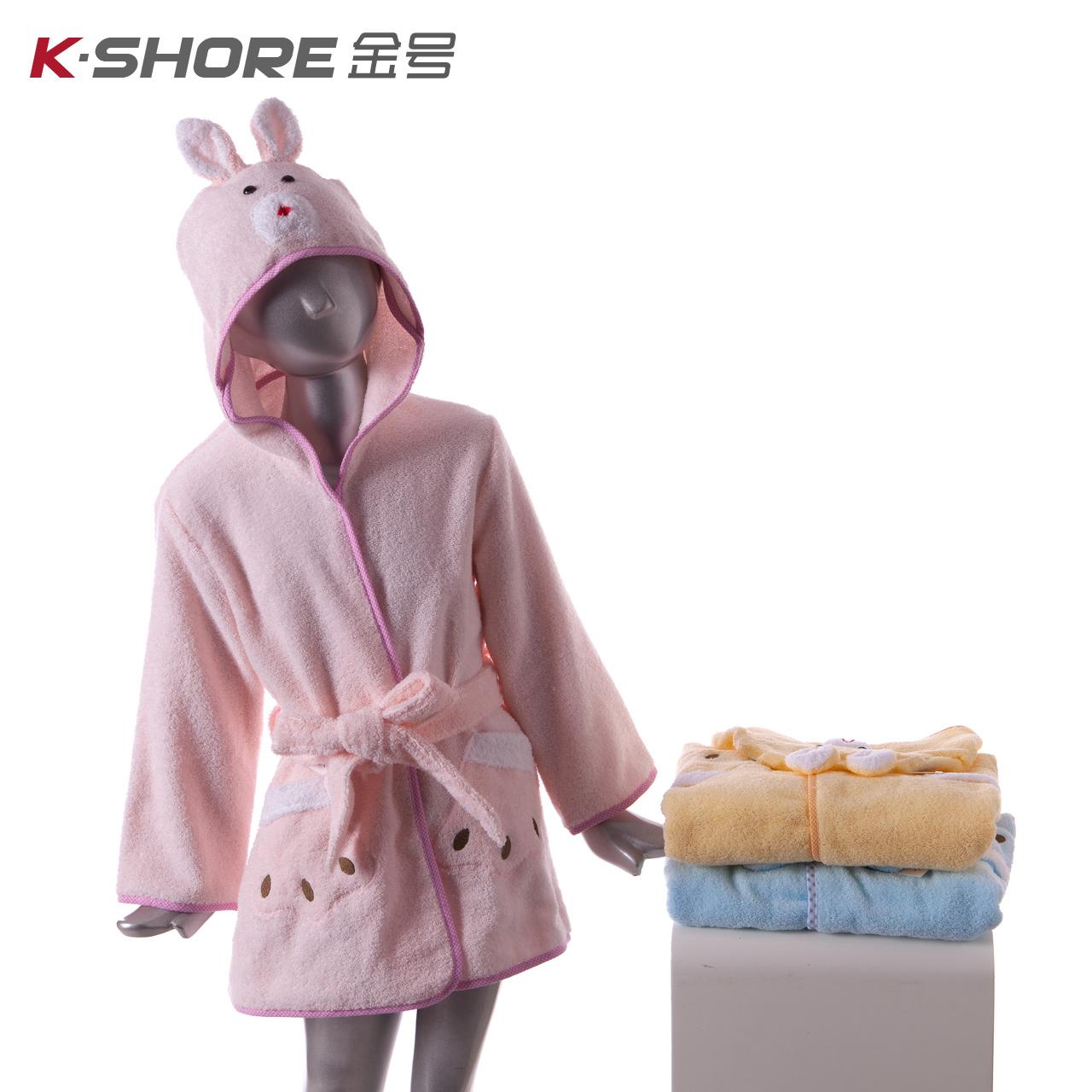 金号 纯棉浴衣礼盒装 素色绣花浴袍/家居服 卡通连帽 系带式