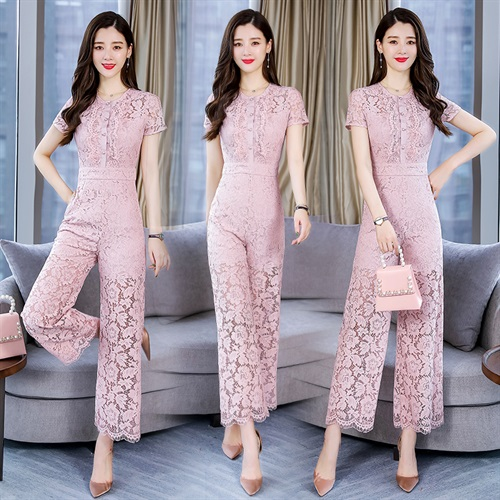 Womens one-piece pants new spring and summer lace temperament wide leg pants Korean version small fragrance short sleeve high waist one-piece pants suit trend