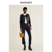 MANGO Women's Wear Short Jacket for Spring and Summer 2019 Locomotive Leather