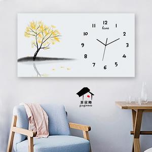 现代简约北欧新中式个性横向长方形挂画挂钟表客厅餐厅艺术装饰画