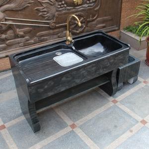 大理石洗衣池阳台家用石头花岗岩带搓板整石户外一体水槽洗衣台盆