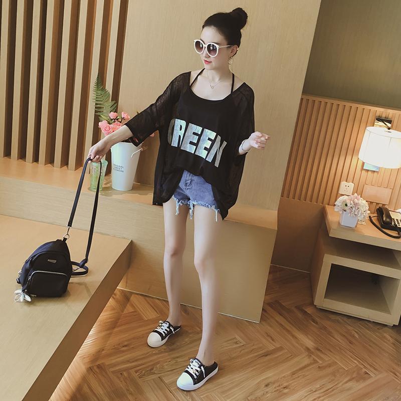 夏装2018新款女t恤宽松小吊带两件套上衣韩范短袖字母打底衫夏季