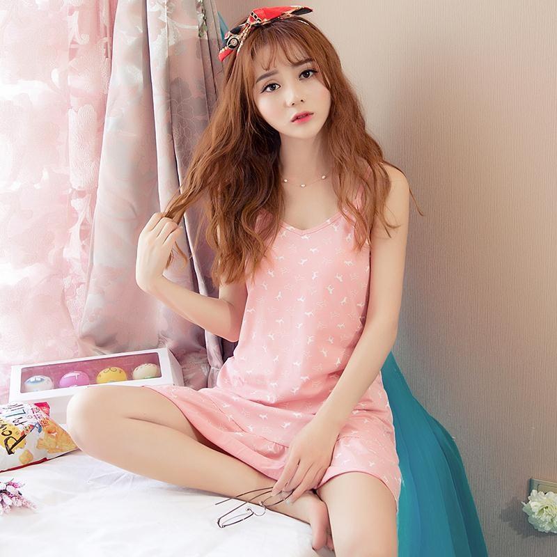 女浪漫棉质短袖薄款睡衣条纹富妮来连衣裙春天家居服可爱睡裙夏季