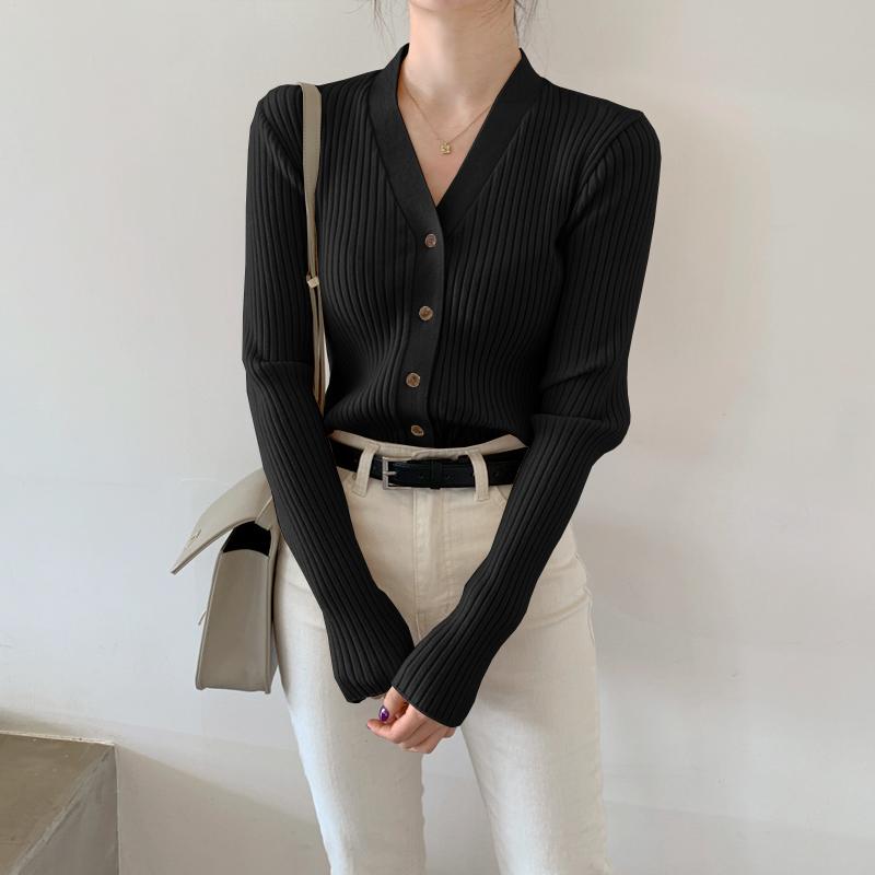 毛衣打底衫女开衫春装2021年新款内搭v领上衣春秋薄款外套针织衫