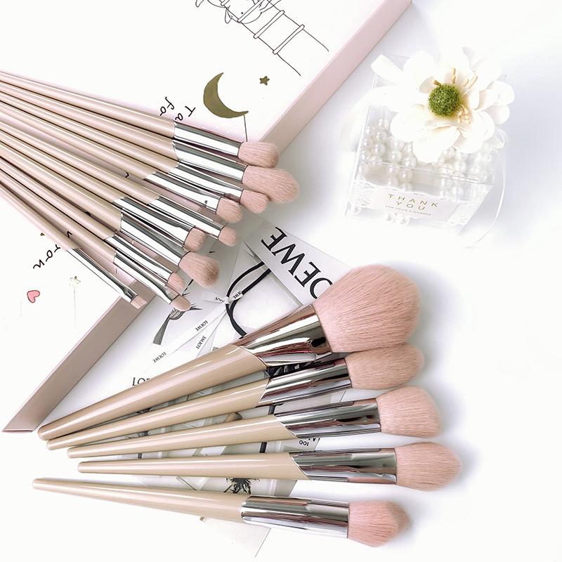 Nordic naked pink makeup brush combination series powder powder brush blush high gloss brush eye eye shadow brush makeup tool