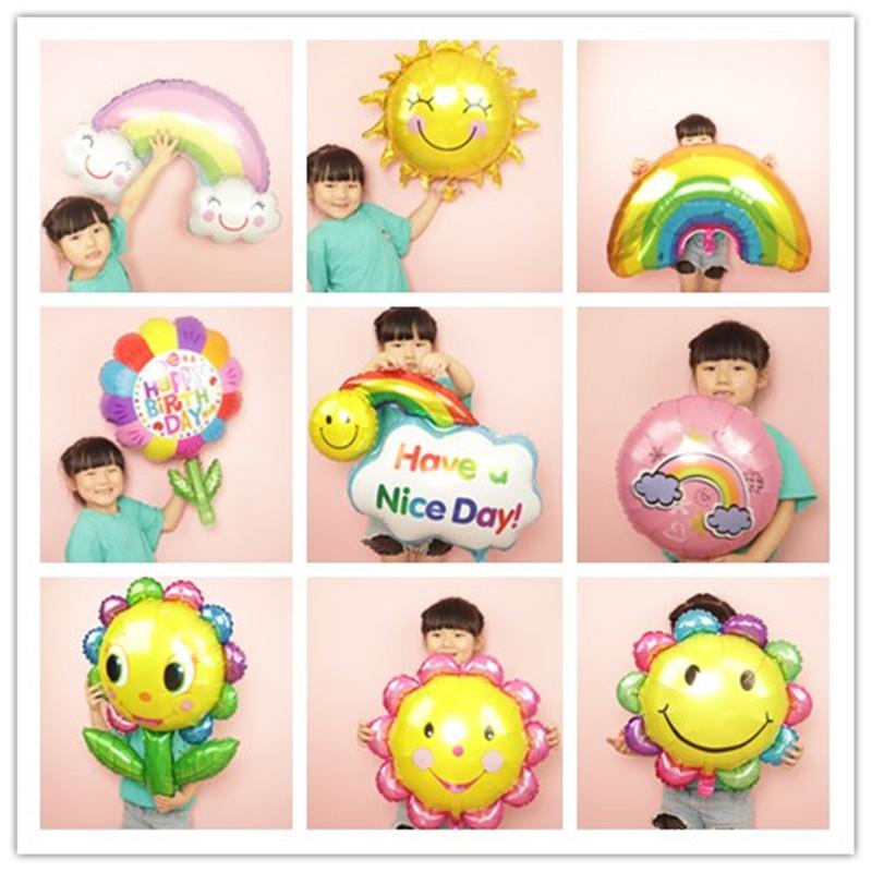 热销26件限时2件3折云朵太阳向日葵花朵气球 彩虹笑脸儿童生日装饰布置气球 毕业气球