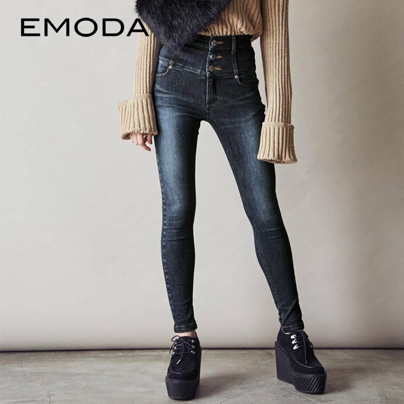 预售包邮2018年秋季新品 排扣高腰修身牛仔裤041852473701
