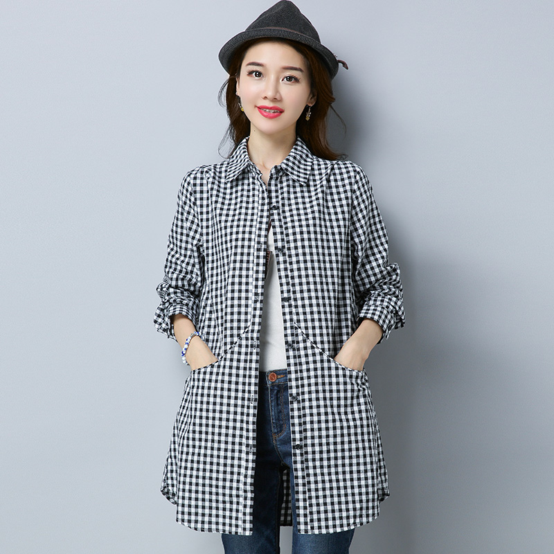 Plaid Shirt womens long sleeve 2020 spring and Autumn New Womens clothing Korean loose foreign style top light cooked shirt coat