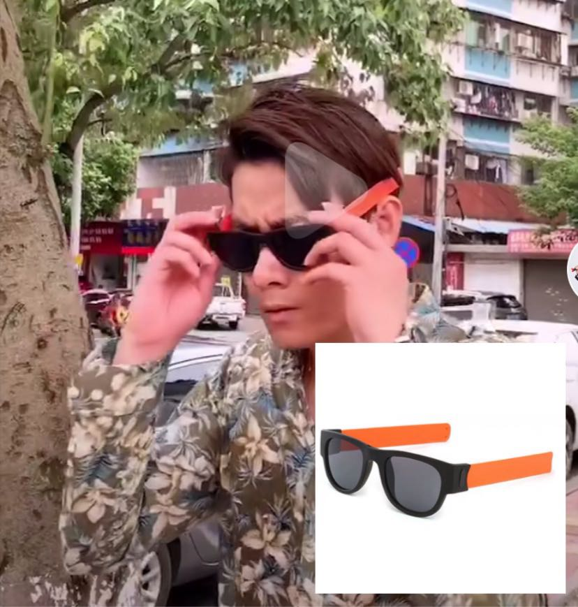 Tiktok brother with the same folding glasses net red clap hand ring sunglasses, male money female couple glasses easy tide