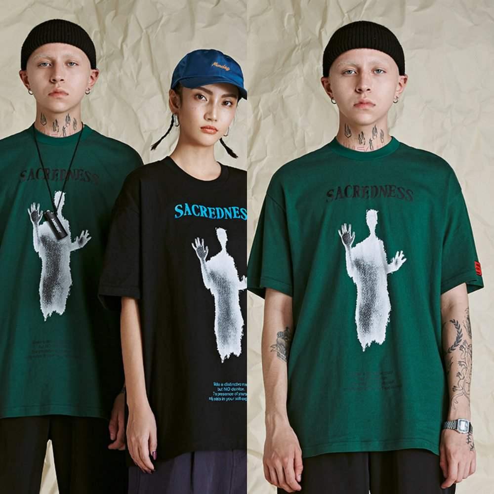 #2020 original national fashion T-shirt trend mens fashion brand loose short sleeve ins Street hip hop ghost character print