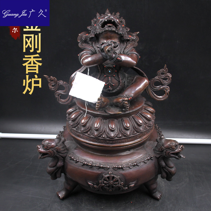 广久尼泊尔密宗供品法器法物紫铜护法身金刚香炉熏香炉高HM1121 Изображение 1