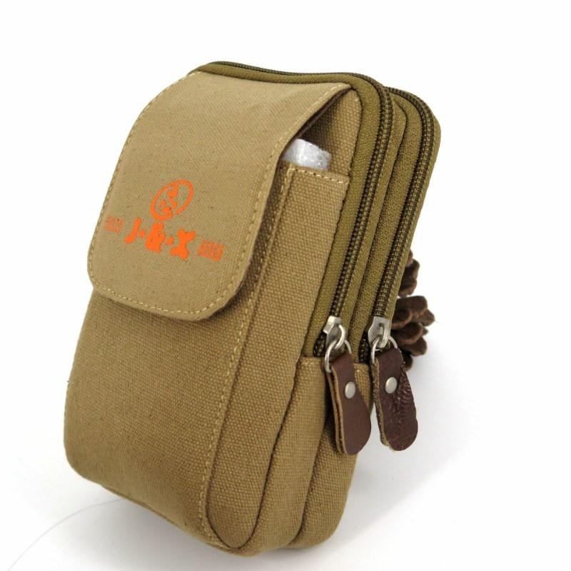 乐购屋新款男士手机腰包5-6寸三层手机小挂包加大竖款帆布穿皮带
