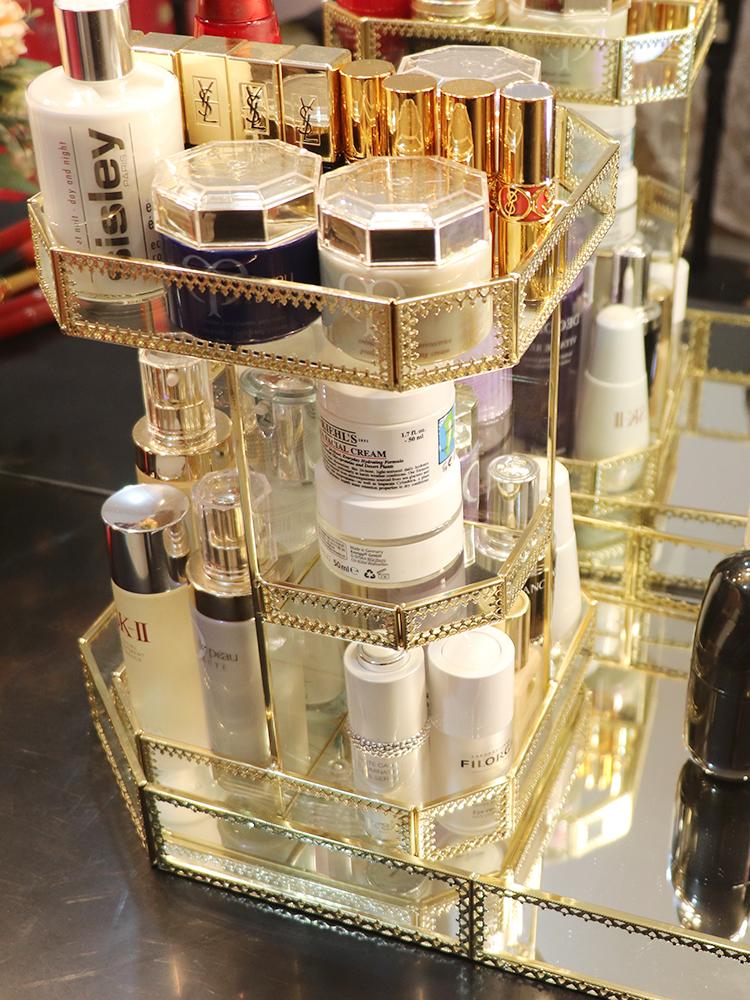 多层化妆箱展示立柜浴室置物架欧式香水收纳盒旋转彩妆盒甲油笔