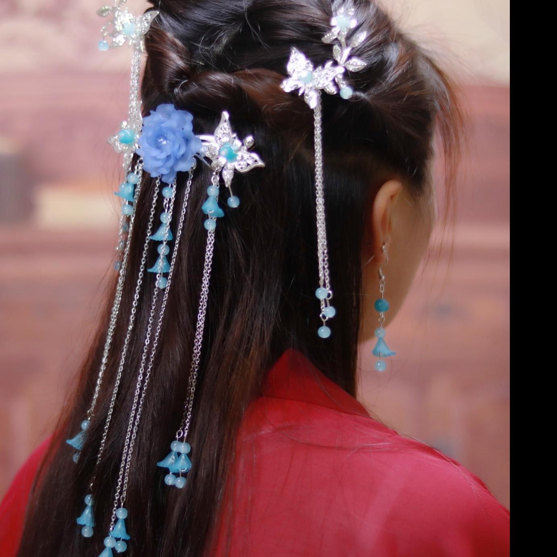 粉色紫色复古手工发簪一套头饰学生一对日常制作女孩发卡珠子新娘