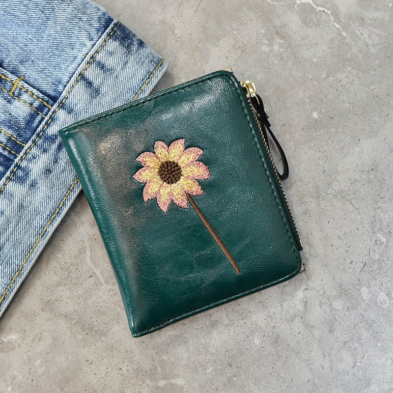 Version short womens simple clip folding Student Wallet Zipper NEW buckle change Han Qingxin B cute and small
