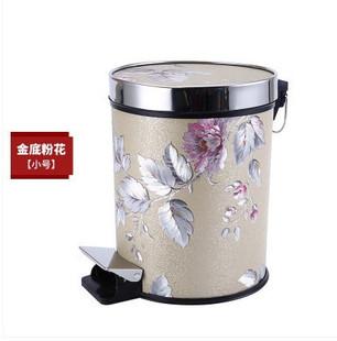 新款限时抢购欧式韩式生活垃圾桶带盖有盖室内圆形土豪金新款多功