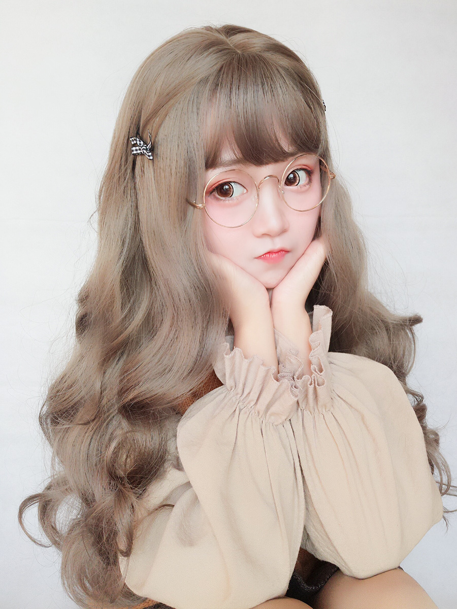 New wig female long curly hair big wave net red lovely Lolita round face Student Korean version fluffy face natural head