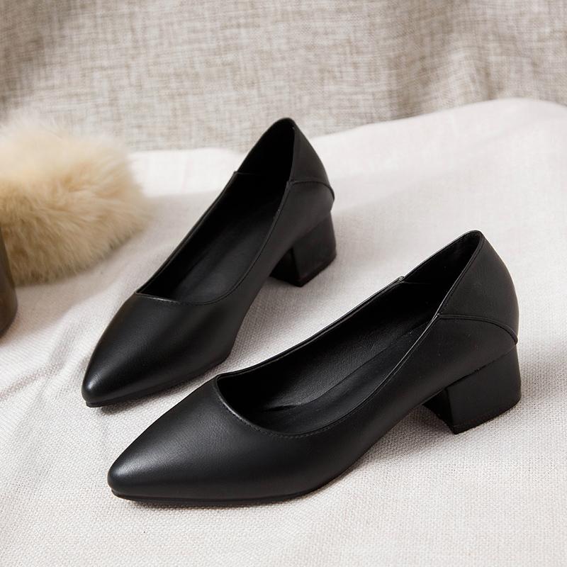 空乘高跟鞋女2020新款工作鞋女黑色粗跟上班职业面试皮鞋低跟单鞋