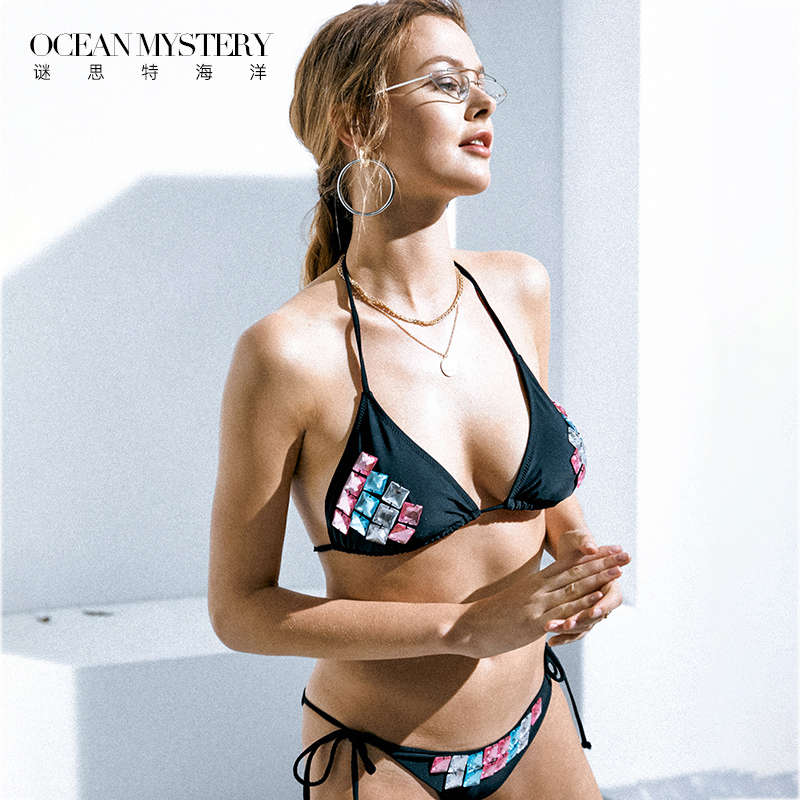 OceanMystery比基尼女性感分体泳装小胸聚拢度假游泳衣黑色泳衣女,可领取5元天猫优惠券